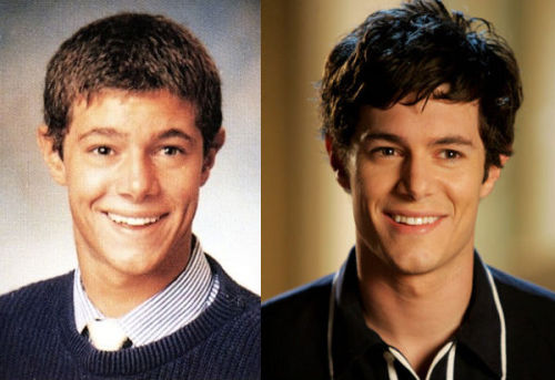 actualteenadultteen:  On the left, 18-year-old Adam Brody in a yearbook photo from Scripps Ranch High School. On the right, 24-year-old Adam Brody as 16-year-old Seth Cohen on The OC.