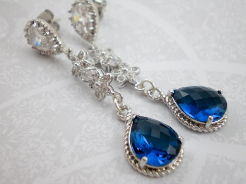 Sapphire Blue Cubic Zirconia Sterling Silver Dangle Earrings