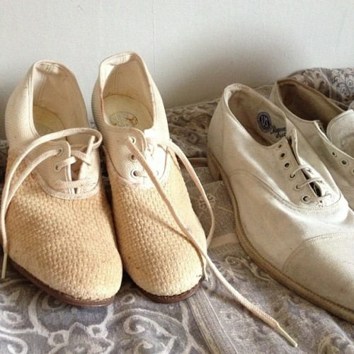 On the left are pre 1916 precursor to Keds and the pair on the right are 1922 Keds! Do I even want to part with these!? Ugh! #vintage #1920s #edwardian #keds #vintagefashion #fashionhistory #shoes