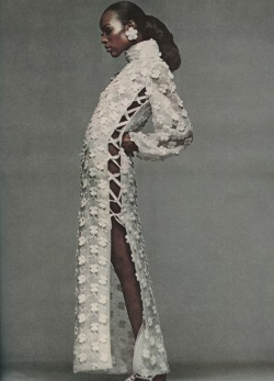 blackandkillingit:  devoutfashion:  Vintage Bazaar Dec 1968, Naomi Sims, Bill Blass' at home see through organdy  Black Girls Killing It Shop BGKI NOW