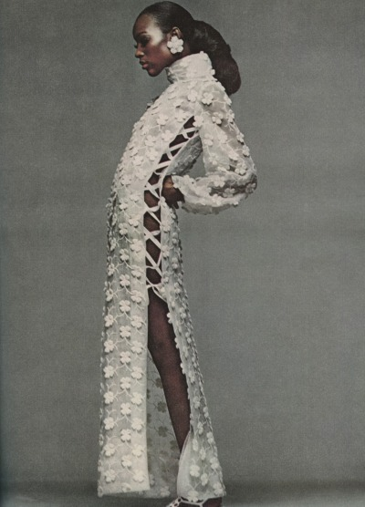devoutfashion:     Vintage Bazaar Dec 1968, Naomi Sims, Bill Blass' at home see through organdy