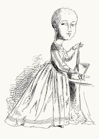 "oldbookillustrations:  There was a young lady who said ""I seldom wear hair on my head, I carry my locks about in a box, For such is the fashion,"" she said. From The new book of nonsense, published by Ashmead & Evans, Philadelphia, 1864. (Source: archive.org)"