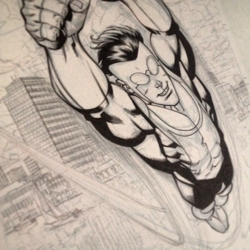 Work in Progress shot, Invincible 105 cover.
