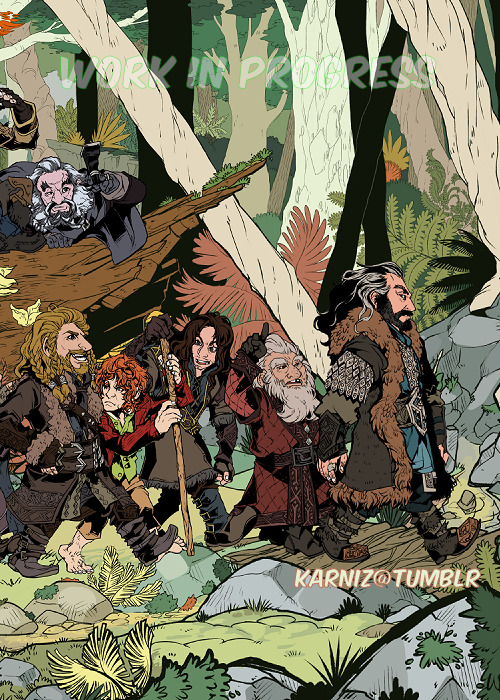 The Hobbit: My last print is almost complete! Just some minor renderings and minor effects, and this beauty will be ready! SOO happy! I'll have it available first at Anime Next 2013 as a full print and then the background on it's own~ [trust me, it stands out as it's own print…]  Interested in purchasing it? After the convention I will be selling them through my print store~ There'll also be a T-shirt version for my Redbubble storefront as well!
