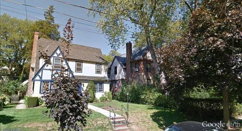 Houses, Yonkers, New York State. At their closest points, Yonkers is just two miles from Manhattan. Looks very different here.