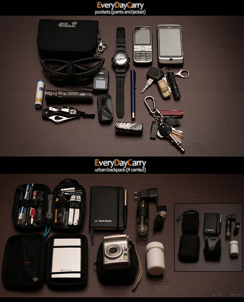 Every Day Carry / Bag Dump Submitted By Mr. Slender Pockets: Jack Wolfskin First Class Wallet Sennheiser PX100 II + SanDisk Sansa Clip Zip 4GB HTC Desire Z & Nokia C5-00 - Purchase on Amazon Casio W-S210H Solar - Purchase on Amazon JETbeam Jet-1 PRO v3.0 Q5 - Purchase on Amazon Marlboro lighter - Purchase on Amazon Opel Astra GSi keys iTP EOS A3 Upgraded flashlight -  Purchase on Amazon My home and flat keys + Victorinox Classic Byrd Robin 2 FRN FullFlatGrind Lip balm lipstick - Purchase on Amazon Backpack: Maxpedition Micro Organizer with:  *  Victorinox Ranger - Purchase on Amazon  *  Leatherman Wave Old - Purchase on Amazon  *  Gatco TriSeps Ceramic sharpener + Pen Sharpener  *  TrustFire S-A2 - Purchase on Amazon  *  Kingston Pendrive 4GB - Purchase on Amazon Similar to Moleskine notebook with Parker Jotter Nike perfumes - Purchase on Amazon Nokia fast charger - Purchase on Amazon Verbatim HDD 750GB - Purchase on Amazon Canon PowerShot A530 - Purchase on Amazon Some pills       Editor's Note: Thanks for always sharing your amazing photos!