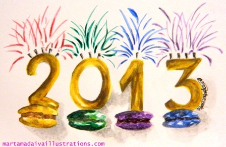 Happy 2013!!! http://www.drawingfashionillustrations.com/happy-2013-with-macarons-illustration/