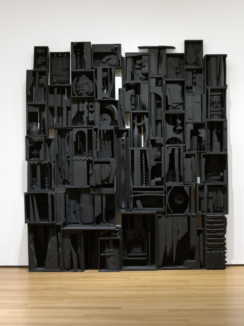 "Louise Nevelson. Sky Cathedral. 1958. Painted wood, 11' 3 1/2"" x 10' 1/4"" x 18"" (343.9 x 305.4 x 45.7 cm). Gift of Mr. and Mrs. Ben Mildwoff. © 2013 Estate of Louise Nevelson / Artists Rights Society (ARS), New York"