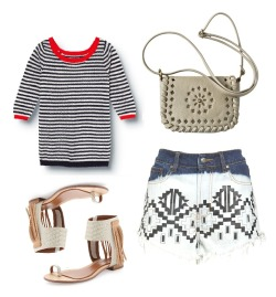 Coachella Inspiration: Festival Fashion with a touch of Prep;) Minkpink Machu Picchu Cutoffs $80 $39.98Quiksilver Nantucket Sweater $49.50Boutique 9 Baste Fringe Ankle Sandals $120 $47.40Mossimo Crossbody Bag $16.99
