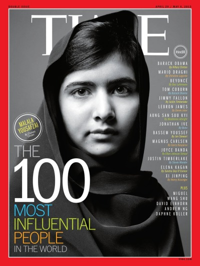 "halftheskymovement:  Malala's on the cover of TIME! ""Malala is now where she wants to be: back in school. The Taliban almost made Malala a martyr; they succeeded in making her a symbol. The memoir she is writing to raise awareness about the 61 million children around the world who are not in school indicates she accepts that unasked-for responsibility as a synonym for courage and a champion for girls everywhere. However Malala concludes her book, her story so far is only just beginning."" - Chelsea Clinton  So deserved."