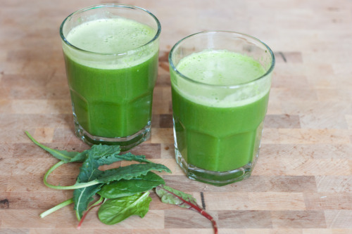 gettingahealthybody:  Green Juice 1 large handful greens 5-7 fresh basil leaves 1 green apple 1 cucumber 1/2 lemon, peel removed 1-inch piece fresh ginger Juice all ingredients, stir, and enjoy! Makes 2 small glasses or 1 large glass.