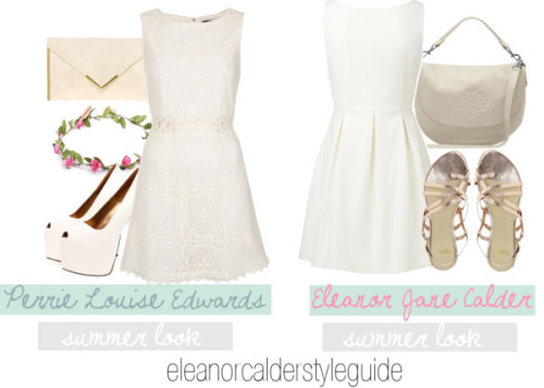 I'm not that familiar with Dani's style so I didn't do it x Eleanor and Perrie (White Dress) by ieleanorcalderstyle featuring strappy flat sandals  Forever New embroidery dress, $93 / Topshop  dress / Strappy shoes / Faith strappy flat sandals / Mulberry white bag / ASOS snakeskin handbag / Pink hair accessory, $76