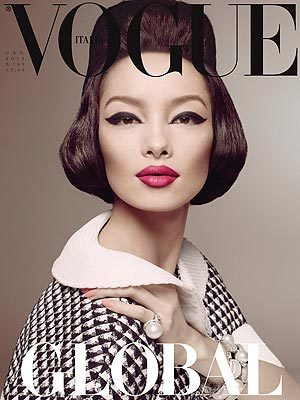 racialicious:  From People:   Vogue Italia, the magazine known for taking a stand against anorexia and promoting the use of black models in fashion, made another statement this week, putting an Asian woman on its cover for the first time.  Chinese model Fei Fei Sun covers the magazine's January issue (out worldwide Monday), a celebration of the multicultural, border-free facets of fashion. Editor in chief Franca Sozzani, who works as a Goodwill Ambassador of the United Nations' Fashion 4 Development Project, chose Sun for the honor. According to the Daily Mail, French Vogue was the first European magazine to put an Asian model on its cover — Chinese supermodel Du Juan, in 2011. And while both British and American editions of Vogue have featured Asian models in spreads, neither has selected an Asian woman for its cover … yet.      (H/t Disgrasian)    go Vogue Italia!