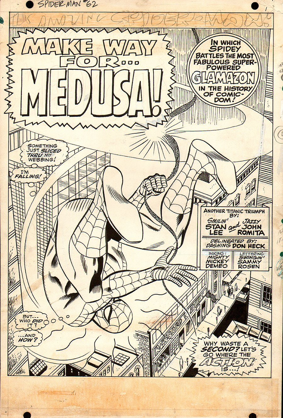 """John Romita and Don Heck pencils with Mike Esposito inks, from the CLASSIC 1968 AMAZING SPIDER-MAN story titled: """"Make Was for MEDUSA!"""""""