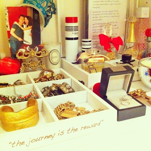 """the journey is the reward"" #qotd ❤ my treasures finally organised!   #photooftheday #girl #accessories #style #love #jewellery #perfume #igdaily  #pretty #igers"
