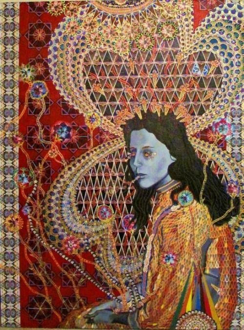 "darksilenceinsuburbia:  Asad Faulwell. Les Femmes D'Alger # 4, 2011.  Acrylic and paper on canvas, 48 x 36"".     Blog"