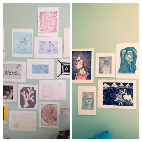 My art walls. The prints on the left are from my class and the prints on the right are mine #print #art