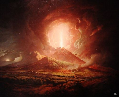 hadrian6:  The eruption of Vesuvius seen from Portici. 1774. Joseph Wright of Derby. English. 1734-1797. oil on canvas. http://hadrian6.tumblr.com