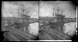 "Harbor scene showing brigantine ""Stormy Petrel""Baltimore, Marylandca. 1900Unidentified photographer4x8 inch stereoview glass negativeBaltimore City Life Museum CollectionMaryland Historical SocietyMC2384"