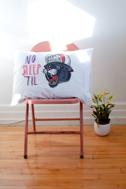 No Sleep til Brooklyn pillow case (second edition) by Rik Lee