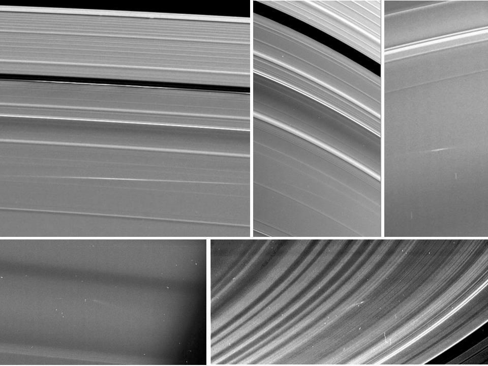 Meteors Meet Saturn's Rings Five images of Saturn's rings, taken by NASA's Cassini spacecraft between 2009 and 2012, show clouds of material ejected from impacts of small objects into the rings. Clockwise from top left are two views of one cloud in the A ring, taken 24.5 hours apart, a cloud in the C ring, one in the B ring, and another in the C ring. Arrows in the annotated version point to the cloud structures, which spread out at visibly different angles than the surrounding ring features. The clouds of ejected material were visible because of the angle sunlight was hitting the Saturn system and the position of the spacecraft. The first four images were taken near the time of Saturn equinox, when sunlight strikes the rings at very shallow angles, nearly directly edge-on. During Saturn equinox, which occurs only every 14.5 Earth years, the ejecta clouds were caught in sunlight because they were elevated out of the ring plane. The last image was taken in 2012 at a very high-phase angle, which is the sun-Saturn-spacecraft angle. This geometry enabled Cassini to see the clouds of dust-sized particles in the same way that dust on a surface is easier to see when the viewer is looking toward a light source. The angle that the clouds are canted gives the time elapsed since the cloud was formed (see PIA14941). The A ring cloud formed 24 hours before its first apparition in the top left box; it formed 48.5 hours before the top middle image. The other three clouds were approximately 13 hours, four hours, and one hour old (respectively) at the times they were seen. See PIA11674 for more information on ring impacts. The Cassini-Huygens mission is a cooperative project of NASA, the European Space Agency and the Italian Space Agency. The Jet Propulsion Laboratory, a division of the California Institute of Technology in Pasadena, manages the mission for NASA's Science Mission Directorate, Washington, D.C. The Cassini orbiter and its two onboard cameras were designed, developed and assembled at JPL. The imaging operations center is based at the Space Science Institute in Boulder, Colo. For more information about the Cassini-Huygens mission visit http://saturn.jpl.nasa.gov. The Cassini imaging team homepage is athttp://ciclops.org. Image Credit:NASA/JPL-Caltech/Space Science Institute/CornellImage Addition Date:2013-04-25