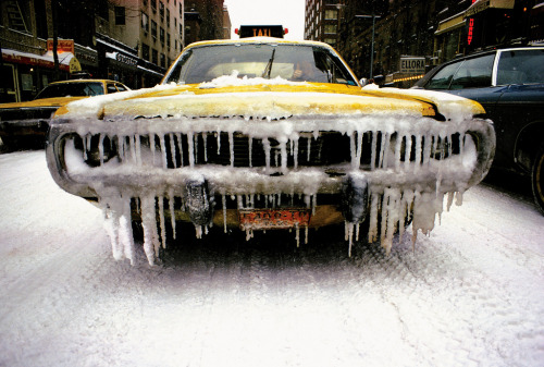 New York Taxi in Snow, 1974