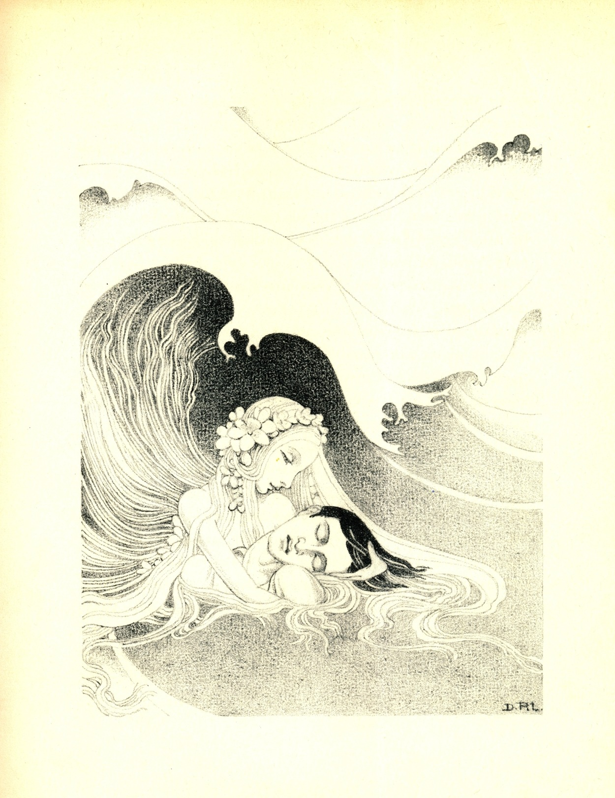 Dorothy Lathrop ~ The Little Mermaid ~ 1939 ~ via His limbs were numbed, his beautiful eyes were closing, and he must have died if the little mermaid had not come to his rescue. She held his head above the water and let the waves drive them whithersoever they would.