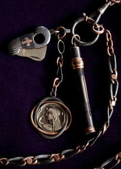 eriebasin:  19th Century Niello Fobs: Cigar Cutter, Pharaoh Pendant, & Pencil