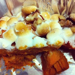 OOPS 😋 What's left of dessert. CANDIED YAMS!! 🍠 Yum. #yum #dessert #yum #nom #dinner #eat #goodeats #food #marshmallows #potato #sweet