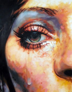 thomassaliot:   As tears goes by just finished Oil on canvas 145/115cm (original photo unknown)