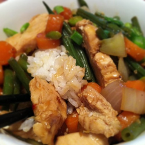 Chicken stir-fry. #homecooking by @sloankattering #stirfry #cookingfortwo #foodporn