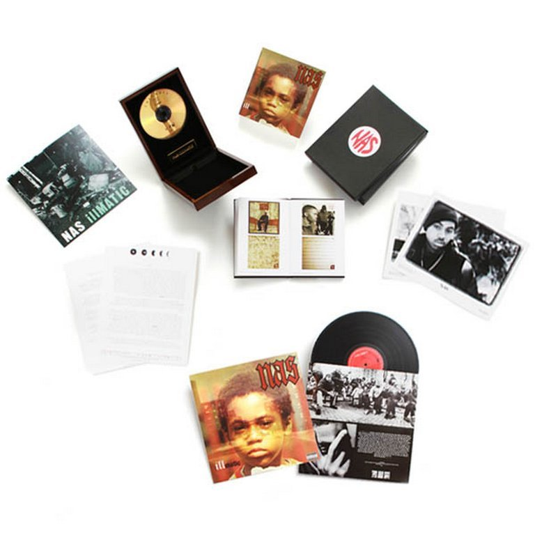 "Get On Down's Nas Illmatic Deluxe ""Gold Edition"" Bundle (CD & Vinyl) Nas Illmatic Deluxe ""Gold Edition"" CD  * ""24k Audiophile Gold Disc"" CD with re-mastered audio and actual  24-karat gold embedded in the CD, housed in a  ""Cherrywood Trophy Box"" with gold plaque     * 48-page full-color, hard-cover liner notes book including  extended artwork, full album lyrics and liner notes  from The Source founder Jon Schecter     * Black 2-piece outer box with 1994 ""Nas""  red-on-white logo sticker [GetOnDown.com Exclusive!]     * Reproduction of 1994 Illmatic press release, with two  8 x 10 glossy promo photos from Illmatic  PR campaign [GetOnDown.com Exclusive!]     * Rare 1994 promotional poster with full album  lyrics printed on back [GetOnDown.com Exclusive!] Nas Illmatic LP   * Reproduction of 1994 Illmatic press release, with  8 x 10 glossy promo photos from Illmatic     * Rare 1994 promotional poster with full album  lyrics printed on back"