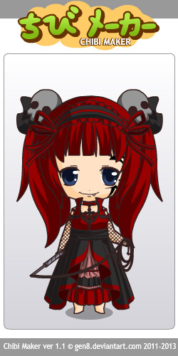 Just a little Chibi I created with this Chibi Maker found on Deviantart. All credits goes to the creator of the game: http://gen8.deviantart.com/art/Chibi-Maker-1-1-346025144
