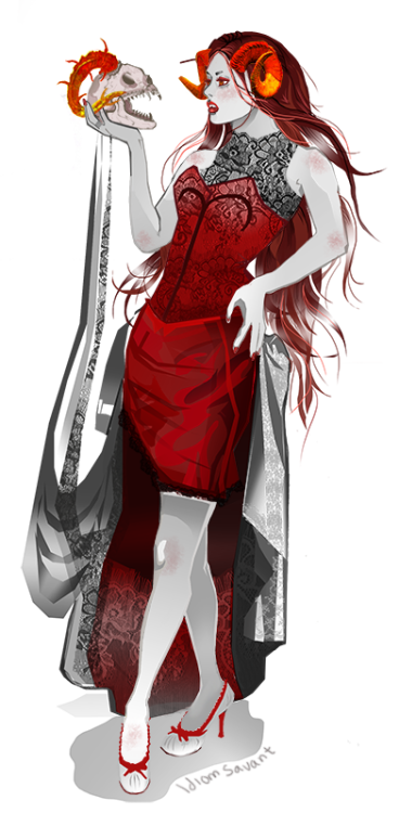 idiomsavant:  For treescab who requested: Aradia in a fancy dress I hope you like the finished version, and as a bonus- the skull is one of Amber's fantroll's, Atrasi.