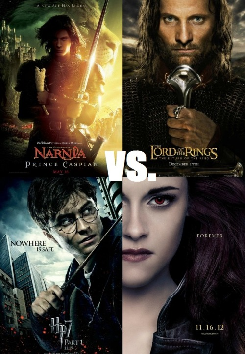 Summer Sequel Smackdown: Fantasy!  (VOTE NOW) 'Harry Potter' vs 'The Twilight Saga' vs 'Lord of the Rings' vs 'The Chronicles of Narnia'   Vote now in the opening round to crown the greatest fantasy sequel ever! #SequelSmackdown