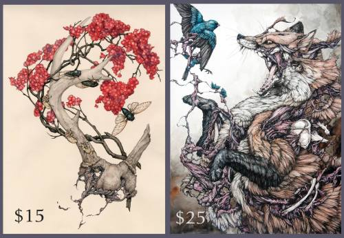 """Lovely prints for sale of """"Cicadas"""" and """"Red Fox""""! They are true to size! Signed and numbered. Limited to 100 each. The cost does not include shipping, sadly. Message me on here if you are interested in a print."""