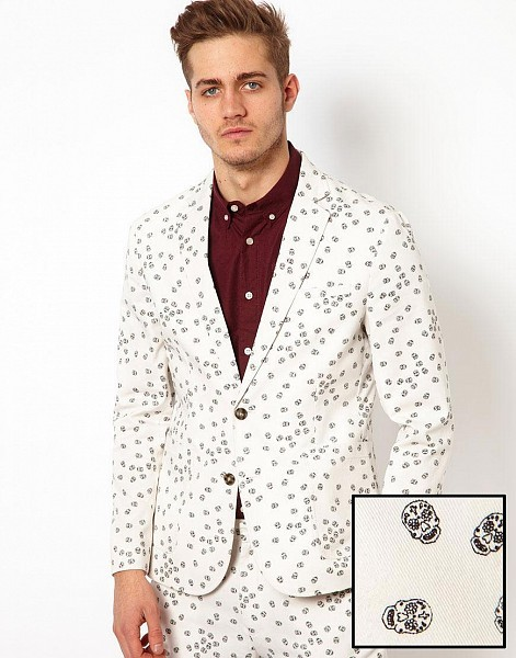 ASOS Slim Fit Blazer With Sugar Skull Print by ASOS