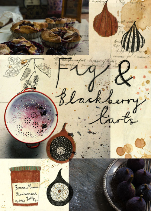 kattfrank:  Homemade fig and Blackberry tarts.  Illustration and type by Katt Frank & Photography by Sean St John.