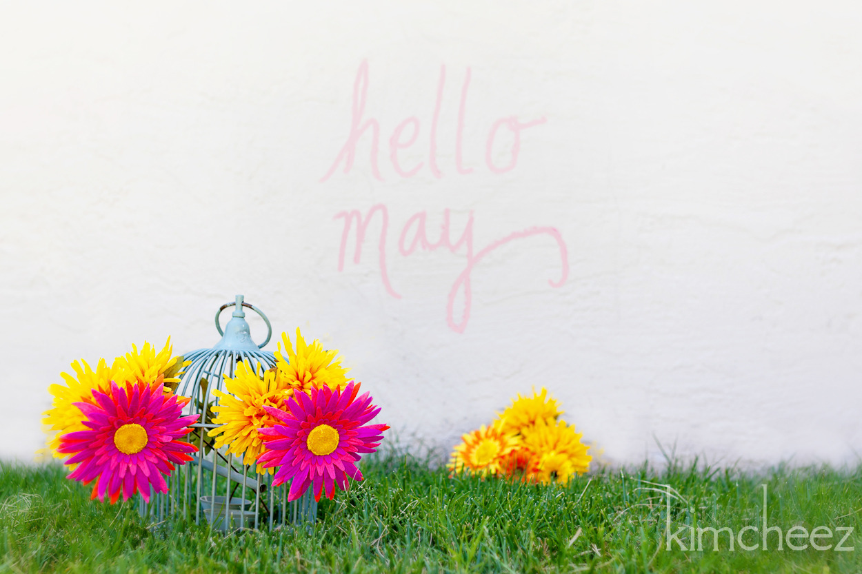 playing with chalk and flowers in the backyard on this beautiful may day.