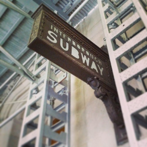 crepesofwrath:  Old subway sign from early 1900s tucked away between scaffolding.