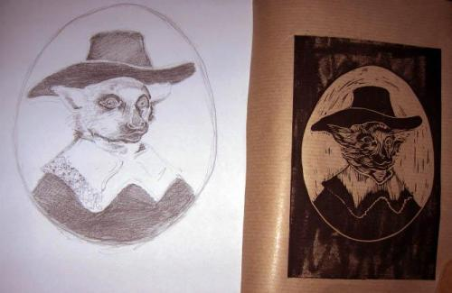 Sketch and Linocut