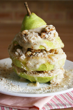 "theroadtohealthyliving:  Pear, Walnut and Banana ""Ice Cream"" Tower"