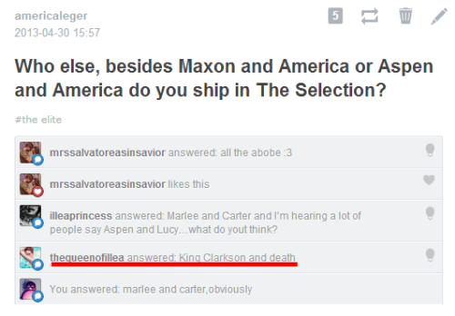 americaleger:  BEST. ANSWER. EVER! LOL And yes, I did notice a lot of that Aspen + Lucy thing. I think that's happening for real. As real as Maxon + Kriss, perhaps. But since I'm so found of Aspen + America, I do not support that ship. If that happens, I'll be…  I just don't know how to solve this. I'm really curious about Aspen's sisters, tho.