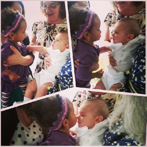 #Sophia giving her #cousin #JohnRobert4th #kisses on his #baptism #babies #adorable #family #Albany #NY  (at Paolo Lombardi's Ristorante)