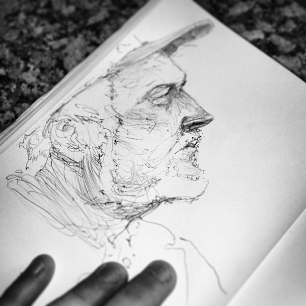 Mi abuelo. A last sketch from the fishing trip