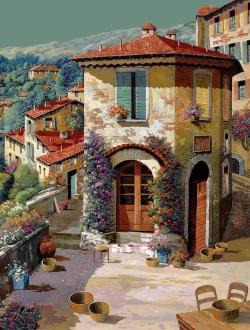 midnight-summerx: Un Cielo Verdolino Painting by Guido Borelli