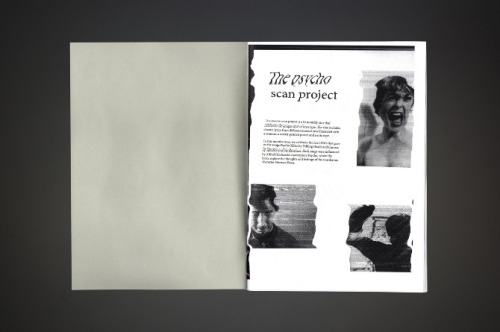 Designed by Eve Warren  The psycho scan project is a bi-monthly zine, that celebrates that unique style of scanned type. The zine includes chaotic lyrics from different musical eras that have been illustrated with a scanner, a screen printed poster and a mix tape.The zine includes two songs, Psycho Killer by Talking Heads and Carcass by Siouxsie and The Banshees.