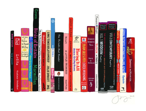 Our number one girl crush Lena Dunham contributed her ideal bookshelf. She wrote to us earlier this week:  I chose a mixture of the 'great' books that have formed me (Nabokov, Beat writing, notable American poetry) and the fringier ones (my dad's copy of How to Disappear scared me senseless, and the Clueless book series allowed me to go everywhere with Cher). I love children's books and graphic novels, especially ones with scrappy girls at the center. Also, I still miss my pet rabbit Chester — my facialist says that rabbit souls vibrate on my frequency.