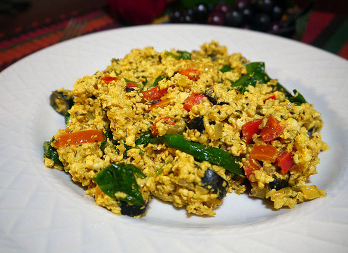 The Mediterranean Scramble from Tami Noyes's American Vegan Kitchen. Delicious, and the handsomest tofu scramble I've ever made!