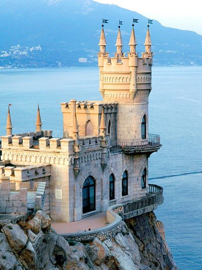 Yalta, Crimea (Ukraine). That is where my father comes from. The Swallow's Nest is a decorative castle built in 1912 by Leonid Sherwood.